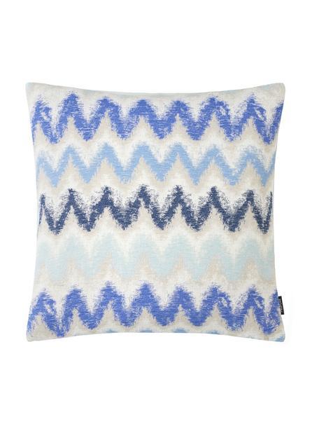 Federa arredo con motivo a zigzag Pari, Poliestere, Beige chiaro, tonalità blu, Larg. 45 x Lung. 45 cm