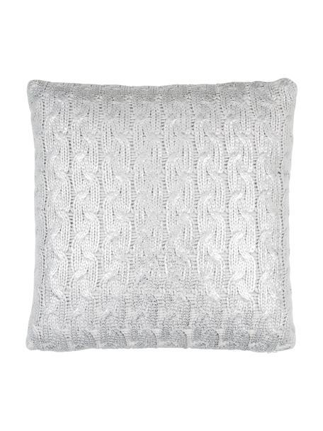 Gebreide kussenhoes Trenes glinsterend/glanzend in grijs en zilverkleur, Acryl, Lichtgrijs, zilverkleurig, 45 x 45 cm