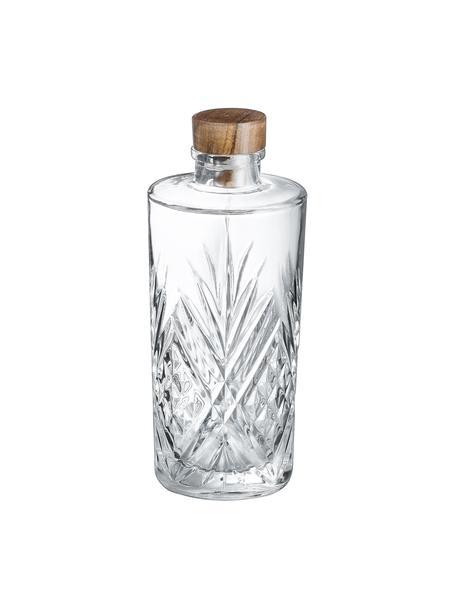 Glazen karaf Eugene met kristalreliëf, Dop: hout, Transparant, hout, 900 ml