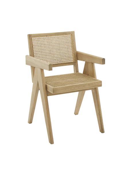 Krzesło z podłokietnikami z plecionką wiedeńską Sissi, Stelaż: lite drewno dębowe, Stelaż: drewno dębowe Siedzisko: beżowy, S 52 x G 58 cm