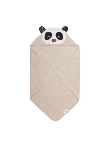 Toalla capa de algodón ecológico Panda Penny, Algodón orgánico, certificado GOTS, Beige, blanco, gris oscuro, An 80 x L 80 cm