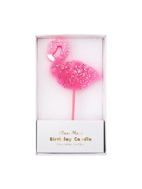 Świeczki tortowe Flamingo, Parafina, tworzywo sztuczne, Różowy, S 8 x W 14 cm
