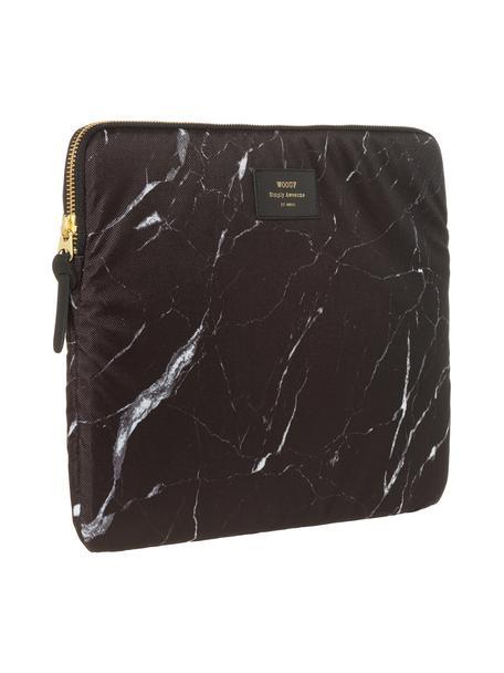 Custodia per MacBook Pro 13 pollici Black Marble, Laptop case: nero, marmo<br>Sovrastampa: nero con carattere dorato, Larg. 34 x Alt. 25 cm