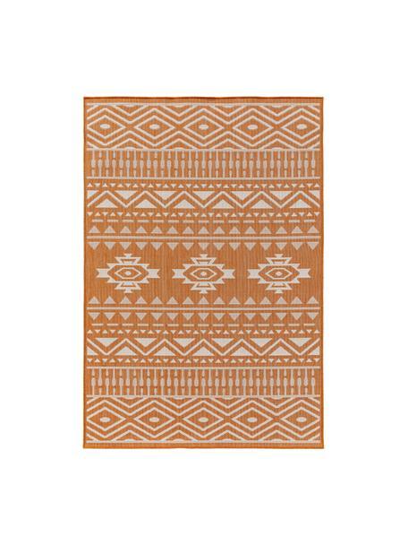 Alfombra de interior/exterior Nillo, estilo étnico, 100%polietileno, Naranja, crema, An 160 x L 230 cm (Tamaño M)