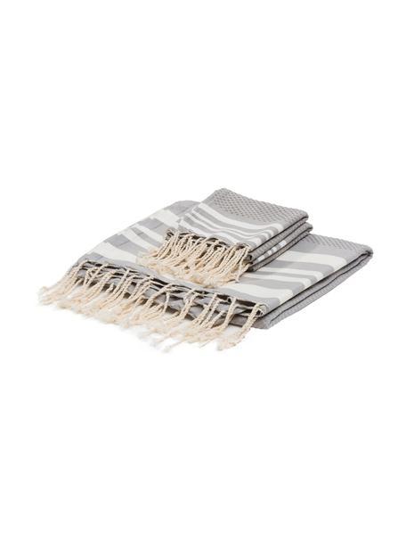 Lichte handdoekenset Hamptons, 3-delig, Katoen, zeer lichte kwaliteit, 200 g/m², Parelgrijs, wit, Set met verschillende formaten