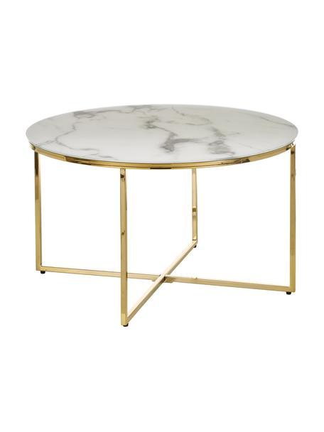 Couchtisch Antigua mit marmorierter Glasplatte, Tischplatte: Glas, matt bedruckt, Gestell: Metall, vermessingt, Tischplatte: Weiß, marmoriert<br>Gestell: Messing, Ø 80 x H 45 cm