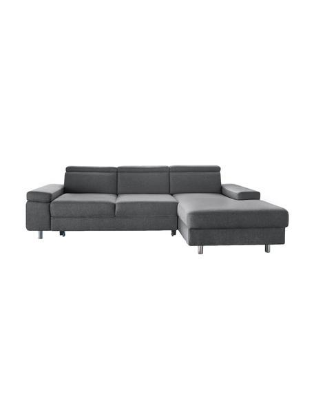 Sofa narożna z funkcją spania Espace, Tapicerka: 100% aksamit poliestrowy, Nogi: metal lakierowany, Szary, matowy, S 257 x G 182 cm