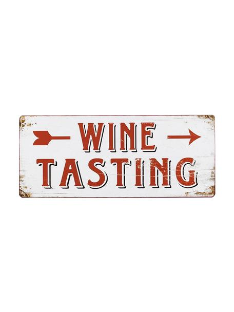 Letrero decorativo Winetasting, Metal recubierto, Blanco, rojo, An 31 x Al 13 cm