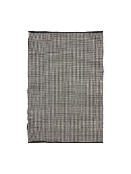 Tappeto in lana tessuto a mano nero/crema Amaro, 38% lana, 22% poliestere, 20% cotone, 20% poliammide, Nero, bianco crema, Larg. 160 x Lung. 230 cm (taglia M)