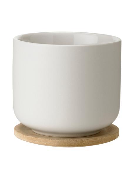 Beker Theo in wit met deksel/onderzetter, Beker: keramiek, Deksel: bamboe, Gebroken wit, bamboekleurig, Ø 8 x H 8 cm