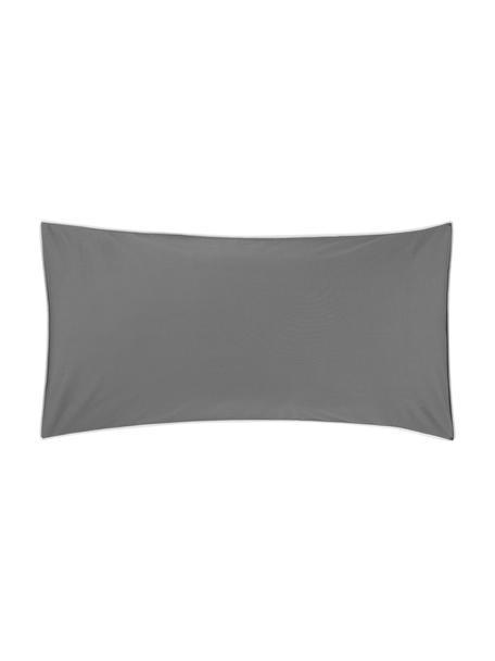 Baumwollperkal-Kissenbezüge Daria in Graumit Keder, 2 Stück, Webart: Perkal Fadendichte 200 TC, Dunkelgrau Kederumrandung: Weiß, 40 x 80 cm