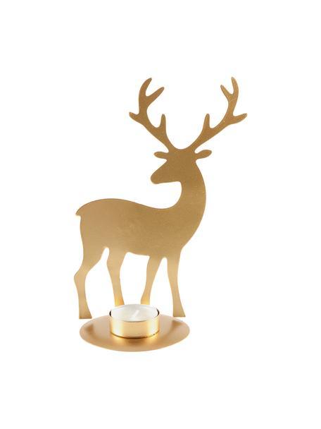 Teelichthalter Deer, Metall, beschichtet, Goldfarben, 14 x 21 cm