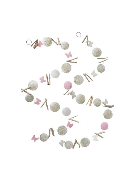 Handgemachtes Girlanden-Set Rosalie, 2-tlg., Capizmuscheln, bedruckt, Treibholz, Grün, Hellrosa, Weiß, Holz, Ø 7 x L 180 cm