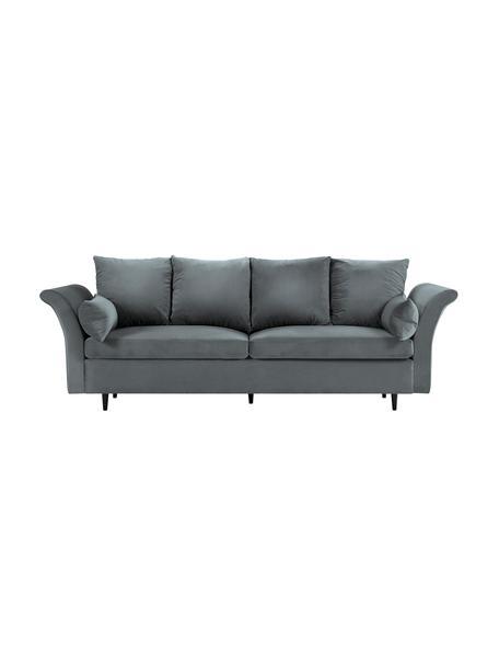 Sofa rozkładana z aksamitu z miejscem do przechowywania Lola (3-osobowa), Tapicerka: aksamit poliestrowy, Nogi: drewno sosnowe, lakierowa, Ciemny szary, S 245 x G 95 cm