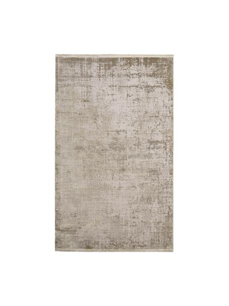 Alfombra con flecos Cordoba, estilo vintage, Parte superior: 70%acrílico, 30%viscosa, Reverso: algodón, Tonos beige, An 80 x L 150 cm (Tamaño XS)
