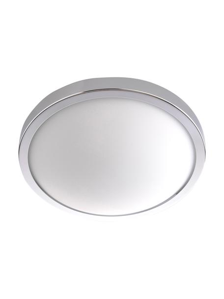 Plafondlamp Calisto, Frame: staal, Diffuser: glas, Chroomkleurig, wit, Ø 22 x H 8 cm