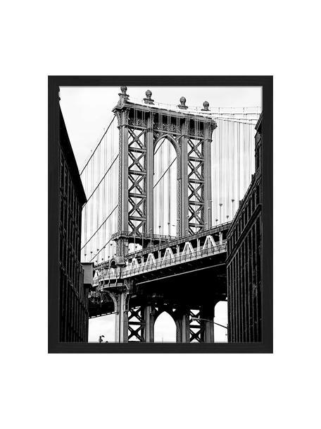 Ingelijste digitale print Manhattan Bridge, Afbeelding: digitale print op papier,, Lijst: gelakt hout, Zwart, wit, 43 x 53 cm