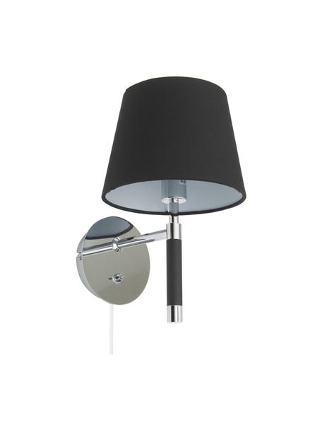 Wandlamp Jannis met stekker, Lampenkap: textiel, Frame: verchroomd metaal, poeder, Bevestiging: chroomkleurig, zwart. Lampenkap: zwart, 14 x 29 cm