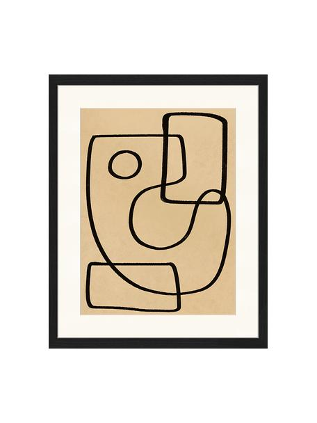 Oprawiony druk cyfrowy Organic Charcol Abstract, Czarny, ciemny beżowy, S 43 x W 53 cm