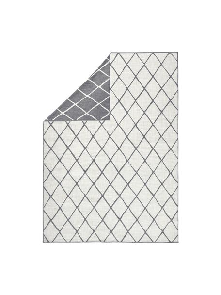 In- und Outdoor-Wendeteppich Malaga mit Rautenmuster, Grau/Creme, Grau, Cremefarben, B 80 x L 150 cm (Grösse XS)