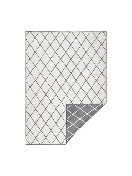 In- & Outdoor-Wendeteppich Malaga mit Rautenmuster, Grau/Creme, Grau, Cremefarben, B 80 x L 150 cm (Größe XS)