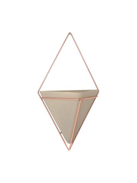 Macetero de pared Trigg, Recipiente: cemento, Gris, cobre, An 22 x Al 38 cm