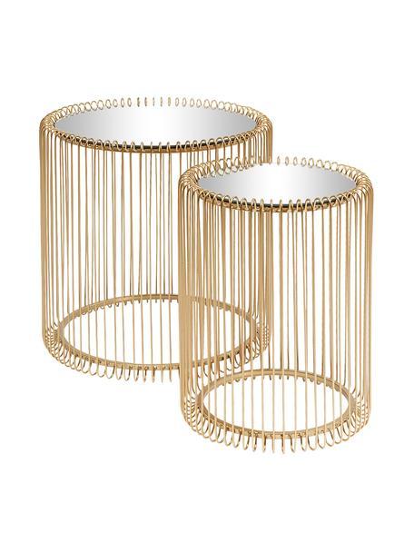 Metalen bijzettafel Wire met glazen tafelblad, 2-delig, Frame: gepoedercoat metaal, Tafelblad: veiligheidsglas met in fo, Messingkleurig, Set met verschillende formaten