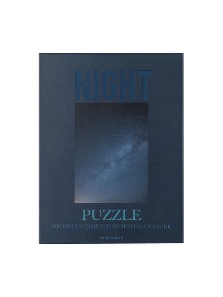 Puzzle Night, 500 elem., Papier, drewno naturalne, Niebieski, S 25 x W 4 cm