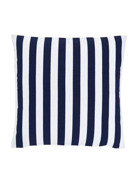Gestreifte Kissenhülle Timon in Dunkelblau, Weiß, 100% Baumwolle, Blau, 50 x 50 cm