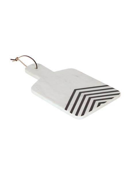 Marmeren snijplank Imeris met zwart patroon, Plank: marmer, Ophanglus: imitatieleer, Wit, gemarmerd, zwart, 38 x 23 cm