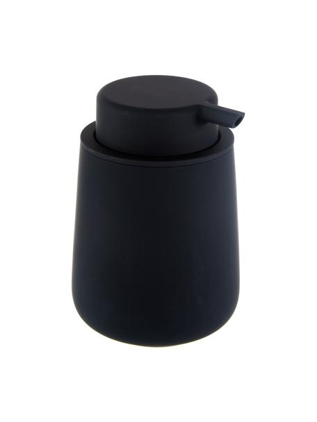 Porseleinen zeepdispenser Nova One, Houder: porselein, Pompje: kunststof, Mat zwart, Ø 8 x H 12 cm