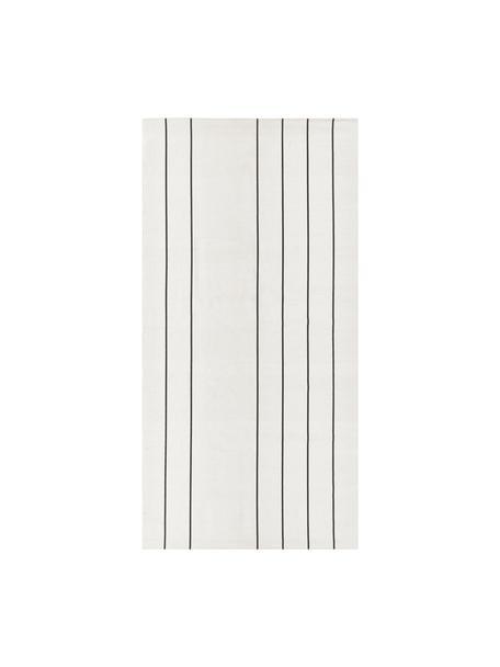 Tappeto in cotone tessuto a mano David, 100% cotone, Bianco latteo, nero, Larg. 70 x Lung. 140 cm (taglia XS)