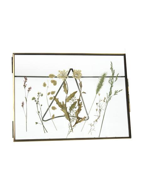 Cornice da tavolo in metallo Dried Flower, Metallo rivestito, Ottonato, 20 x 15 cm