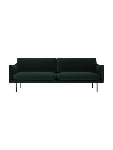 Samt-Sofa Moby (3-Sitzer) in Dunkelgrün mit Metall-Füßen, Bezug: Samt (Hochwertiger Polyes, Gestell: Massives Kiefernholz, Füße: Metall, pulverbeschichtet, Samt Dunkelgrün, B 220 x T 95 cm