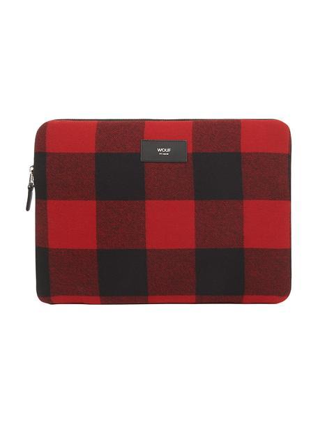 Laptophülle Red Jack für MacBook Pro 13 Zoll, Baumwolle, Leder, Rot, Schwarz, 33 x 23 cm