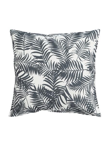 Outdoor kussen Gomera met bladpatroon, met vulling, 100% polyester, Wit, zwart, 45 x 45 cm