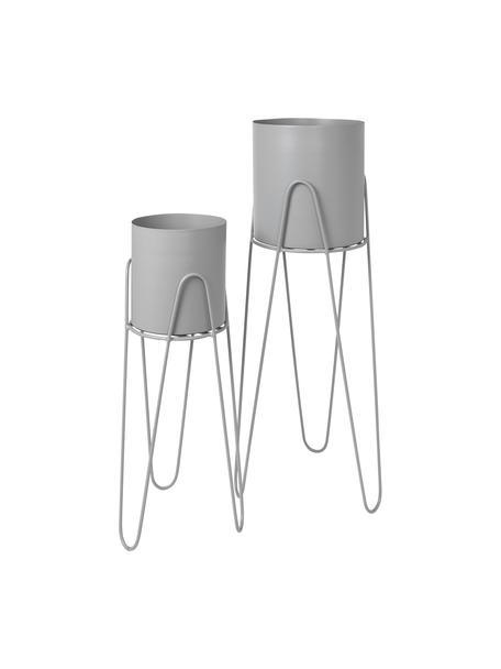 Übertopf-Set Lisa aus Metall, 2-tlg., Metall, Hellgrau, Sondergrößen
