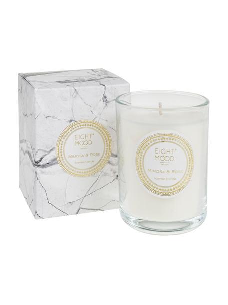 Geurkaars White Marble (mimosa & roos), Houder: glas, Houder: transparant.  Was: wit, Ø 9 x H 12 cm