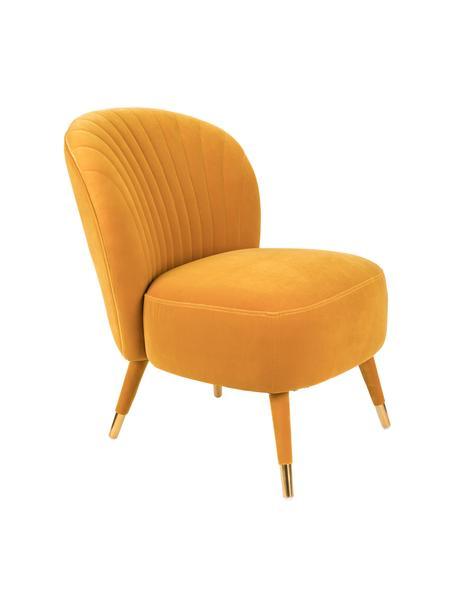 Samt-Cocktailsessel Well Dressed in Gelb, Bezug: Polyester 30 000 Scheuert, Beine: Gummibaumholz, Füße: Metall, beschichtet, Samt Ockergelb, 65 x 83 cm