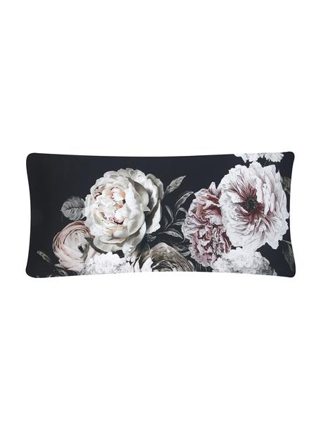 Funda de almohada de satén Blossom, Negro, An 45 x L 110 cm