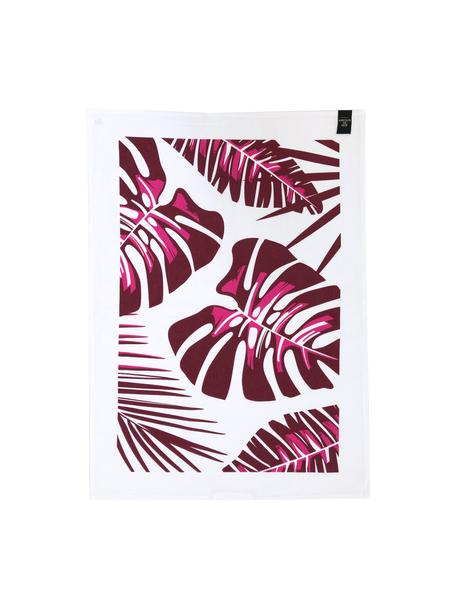 Canovaccio Urban Jungle 2 pz, 50% lino, 50% cotone, Bianco, bordeaux, Larg. 50 x Lung. 70 cm
