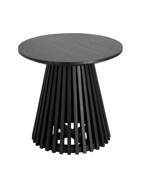 Massivholz-Beistelltisch Jeanette in Schwarz, Mindiholz, massiv, Schwarz, Ø 50 x H 48 cm