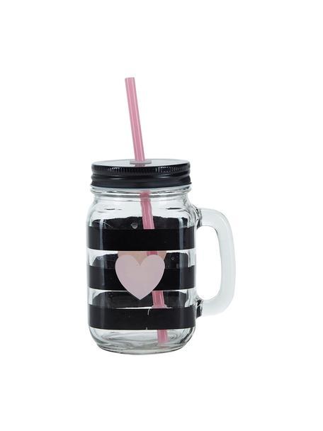 Drinkglas Stripes & Heart, 2 stuks, Deksel: metaal, kunststof, Rietje: kunststof, Transparant, zwart, roze, Ø 7 x H 16 cm