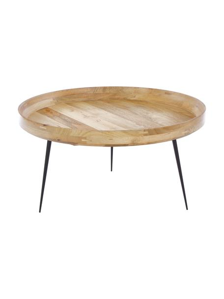 Design salontafel Bowl Table van mangohout, Tafelblad: mangohout, Poten: staal, Bruin, Ø 75 x H 38 cm
