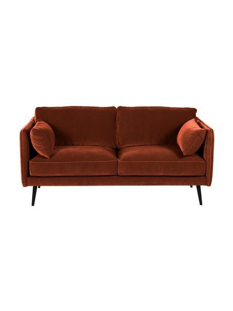 Sofa z aksamitu Paola (2-osobowa), Tapicerka: aksamit (poliester) 7000, Stelaż: masywne drewno świerkowe,, Nogi: drewno świerkowe, lakiero, Aksamitny rudy, S 179 x G 95 cm