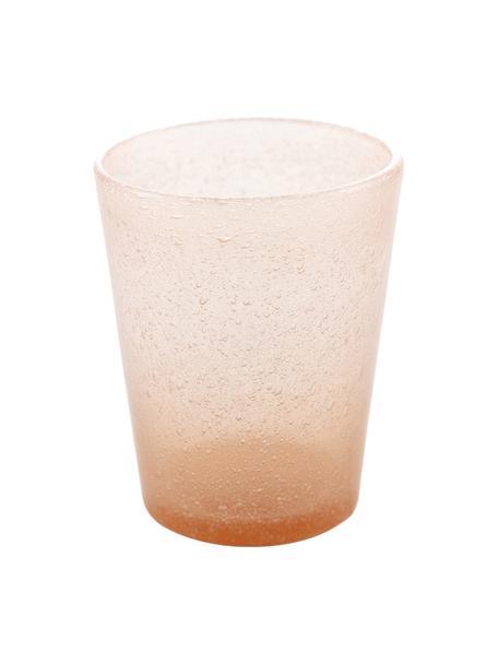Mundgeblasene Wassergläser Cancun in Orange mit Lufteinschlüssen, 6 Stück, Glas, mundgeblasen, Lachsfarben, Ø 9 x H 10 cm