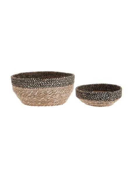 Set de cestas Bavla, 2pzas., Seagrass, yute, Negro, yute, Ø 22 x Al 10 cm