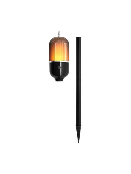 Lampada da esterno New Flame, Base della lampada: alluminio, Paralume: materiale sintetico, Nero trasparente, Ø 10 x Alt. 88 cm