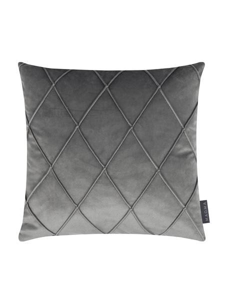 Fluwelen kussenhoes Nobless in grijs met verhoogd ruitjesmotief, 100% polyester fluweel, Grijs, 40 x 40 cm