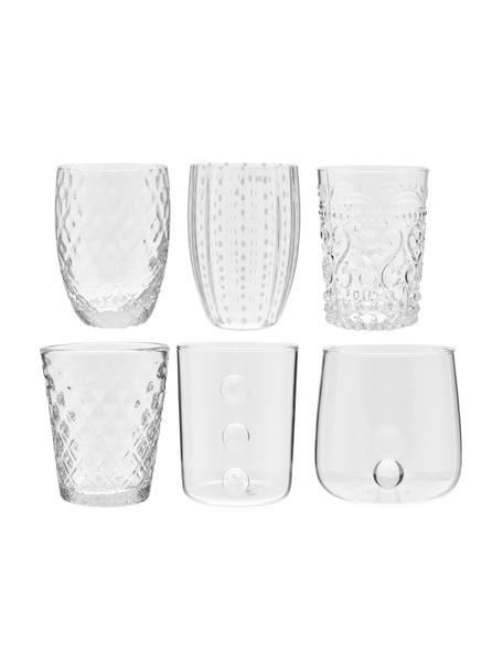 Mundgeblasene Wassergläser Melting Pot Calm mit unterschiedlichem Reliefmuster, 6er-Set, Glas, Transparent, Weiß, Set mit verschiedenen Größen